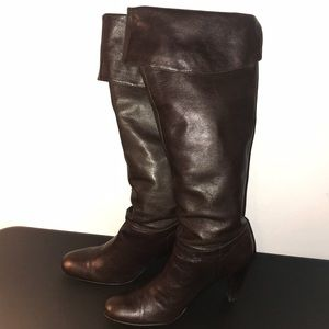Calvin Klein Sandra Heeled Boots Tall Brown